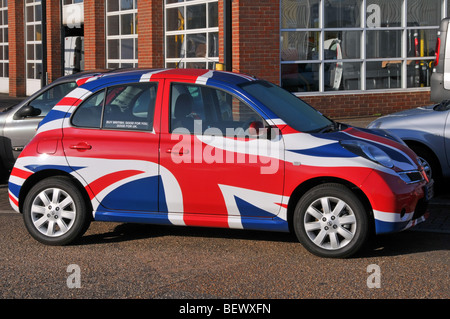 Nissan micra car with union flag graphics as part of a Buy British marketing campaign for the Sunderland factory - Stock Photo