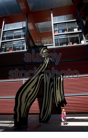 Brushstroke by Roy Lichtenstein at the entrance of Museo National Centro De Arte Reina Sofia in Madrid - Stock Photo