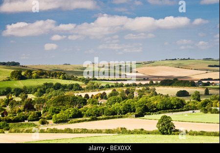 A typical English countryside view over rolling fields,downs and farmland in Wiltshire, England, UK - Stock Photo