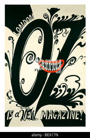 Street poster for Oz magazine's first issue in 1967 - Stock Photo