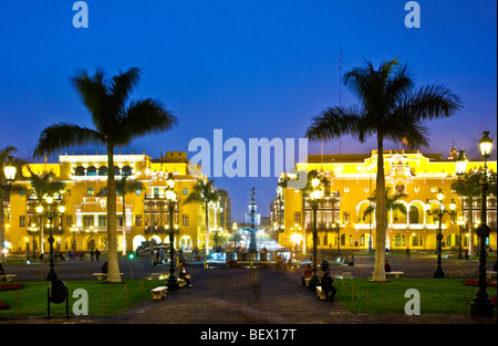 Union Club and City Hall in Plaza Mayor, formerly Plaza de Armas, in downtown Lima,capital of Peru - Stock Photo