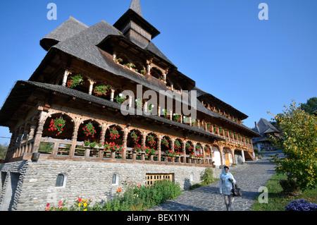 building in Barsana monastery in Romania - Stock Photo
