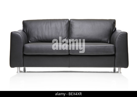 Black leather sofa isolated on whitebackground - Stock Photo