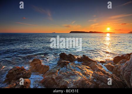 Sunset, Dubrovnik Croatia - Stock Photo