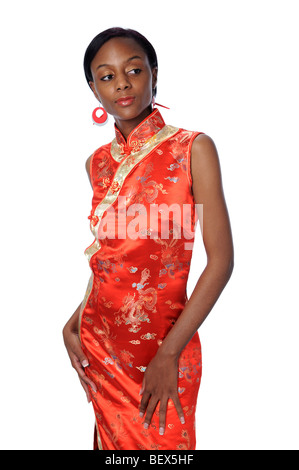 Young woman dressed in traditional Japanese dress - Stock Photo