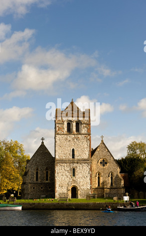All Saints Church on the banks of the River Thames at Bisham upstream of Marlow near Bisham Abbey - Stock Photo
