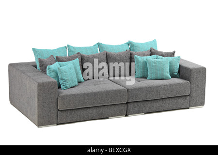 Image of a modern black leather sofa on white background - Stock Photo