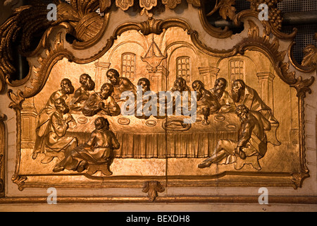 Carved scene of the Last Supper Marktkarche St Nicolai St Nicholas church Hamelin Germany - Stock Photo