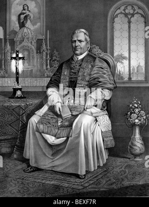 His Holiness Pope Pius IX (13 May 1792 – 7 February 1878) in 1866 - Stock Photo