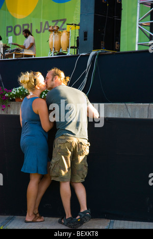 Couple in love in Pori Jazz Festival 2009 Pori Finland Europe - Stock Photo