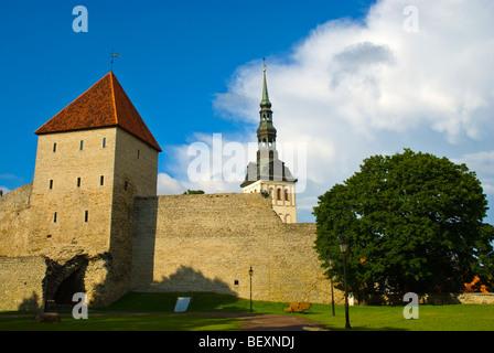 Old Town walls and Neitsitorn the Maiden tower in Tallinn Estonia Europe - Stock Photo