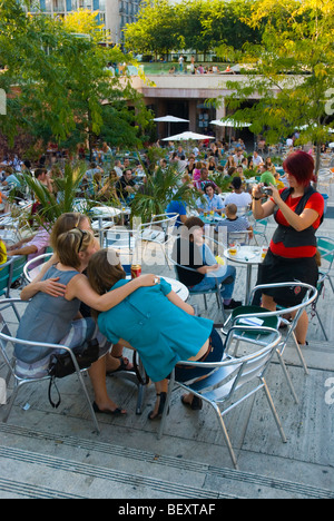 Bar terrace Erzsebet ter square in central Budapest Hungary Europe - Stock Photo