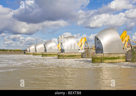 The Thames Barrier on the up stream side with the gates in the raised (defensive) position to allow 'underspill'. - Stock Photo