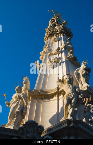 Holy Trinity Column at Szentharomsag ter square upon Castle Hill Budapest Hungary Europe - Stock Photo