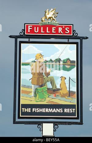 The Fishermans Rest pub sign, Lymington, Hampshire, England, UK - Stock Photo