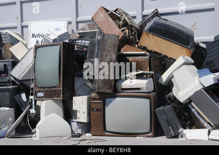 A section in a civic amenity site where used television sets and electrical appliances are disposed for recycling. - Stock Photo