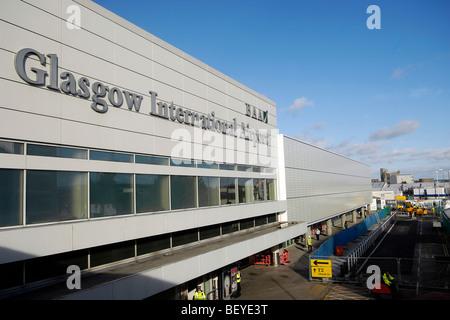Exterior view of Glasgow International Airport terminal, Glasgow, Scotland.