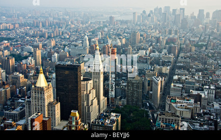 A view of 'lower Manhattan' and the 'Flatiron Building' from the 'Empire State Building' in 'New York City,' 'New - Stock Photo