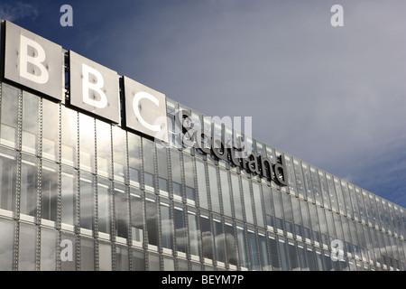 BBC Scotland Building in Pacific Quay Glasgow - Stock Photo