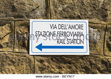 street of love, riomaggiore-manarola, liguria, italy - Stock Photo