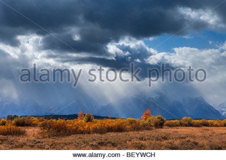 Afternoon storm clouds tower over Mount Moran and other peaks in Grand Teton National Park, Wyoming. - Stock Photo