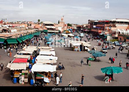 Jemaa el Fna main square in the medina of Marrakesh, Morocco. - Stock Photo