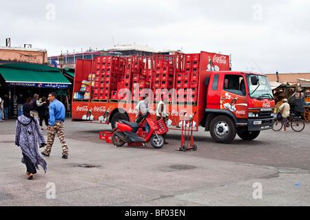Coca Cola beverage transport car at Jemaa el Fna main square, Marrakesh, Morocco - Stock Photo