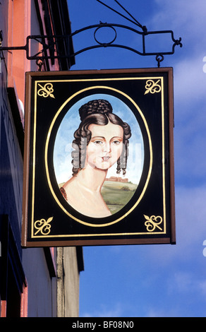 Princess Royal pub inn sign London SW1, Princess Louise, English signs portrait board boards England UK public house - Stock Photo