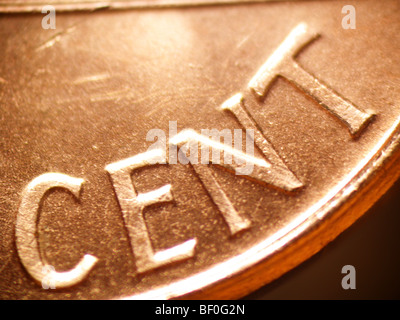 Macro Of A Penny Focused On The Word Cent Stock Photo 26422426 Alamy