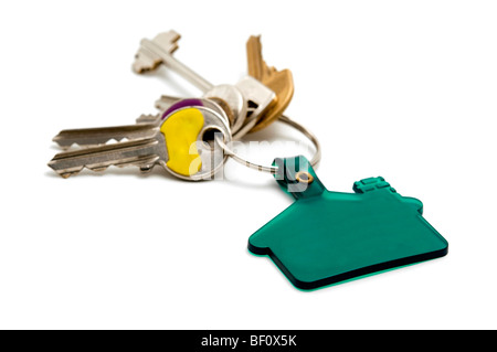 House keys on a white background - Stock Photo