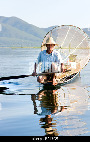 Fisherman in Inle Lake, Myanmar. - Stock Photo