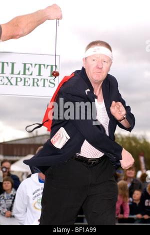 Tam Gormley 2009 champion winner winning the 45th World Conker Championships near Ashton Northamptonshire 11th October - Stock Photo