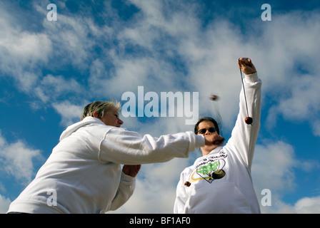 Sue Howes2009 champion winner winning the 45th World Conker Championships near Ashton Northamptonshire 11th October - Stock Photo
