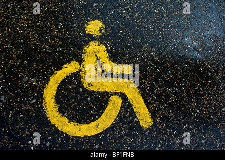 A parking space for disabled persons, Great Britain. - Stock Photo