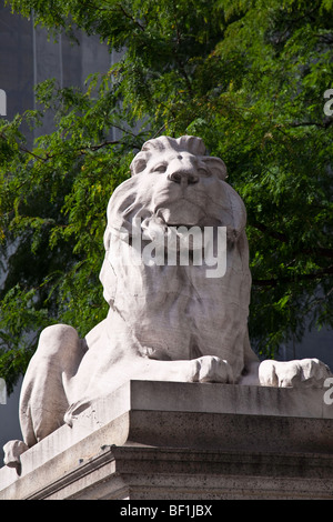 Lion in front of the New York Public Library, NYC - Stock Photo