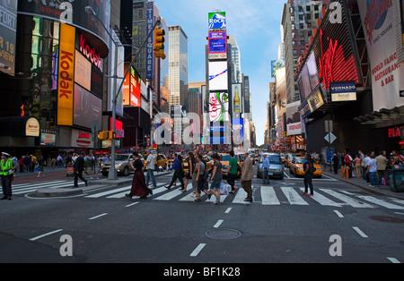 Street Scene in Times Square, New York City - Stock Photo