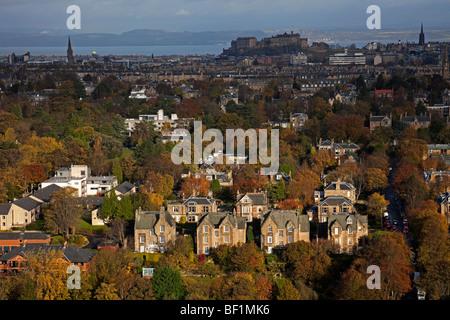 Blackford, Edinburgh residential area during the autumn season with Edinburgh Castle in the background, Scotland, - Stock Photo