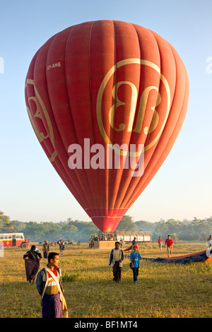 Ballons over bagan with private bus, Myanmar. - Stock Photo