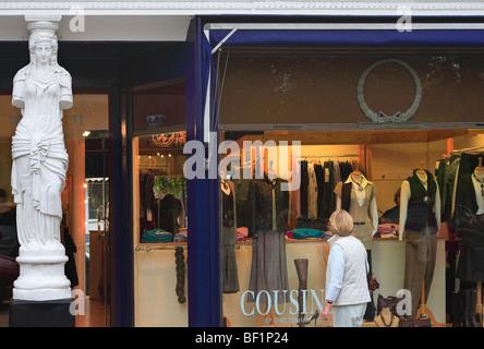 Woman shopping in Montpellier area Cheltenham Gloucestershire England - Stock Photo