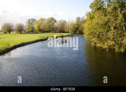 Rowing boat on River Stour, Flatford Mill, Suffolk, England - Stock Photo