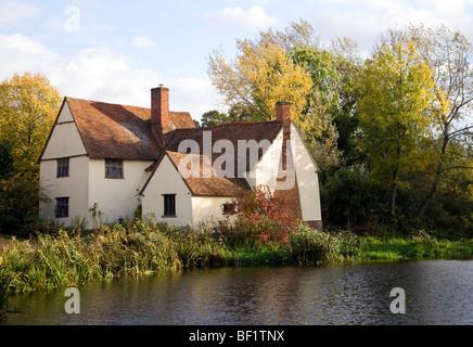 Willy Lott Lott's cottage house Flatford Mill, Dedham Vale, East Bergholt, Suffolk, England,UK - Stock Photo