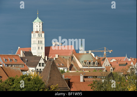 above the roofs of the old town from augsburg, bavaria, germany - Stock Photo