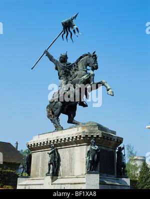William the Conqueror Statue, Falaise, Normandy, France - Stock Photo