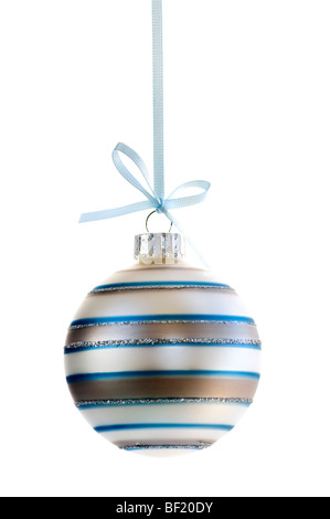 Striped Christmas decoration hanging isolated on white - Stock Photo