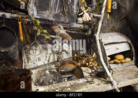 Kitchen sink with dirty and rusty dishes - Stock Photo