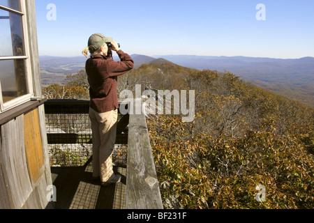 Birdwatcher at Hanging Rock Raptor Observatory - Stock Photo