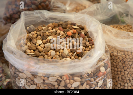 large bag of mixed nuts on a stall in famagusta turkish republic of northern cyprus trnc - Stock Photo