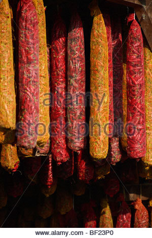 Capsicum annuum or chili peppers air drying to make Hungarian paprika - Kalocsa Hungary - Stock Photo