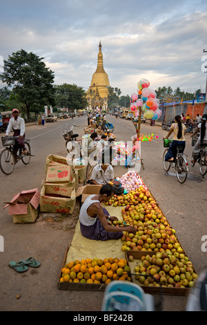 People at Shwemawdaw Paya, Bago, Yangoon, Myanmar. - Stock Photo