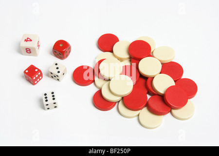 Dice and Checkers - Stock Photo